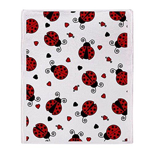 CafePress Cute Red Ladybug and Hearts Print Soft Fleece Throw Blanket, 50