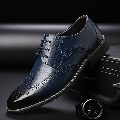 Scarpe Dimensione uomo Lace Top Resistente Orange amp;Baby 41 Business brogue Color traspirante Up Low vera Sunny pelle Wingtip da Carving all'abrasione Blue in Hollow Oxford foderato EU 05gOwPOq