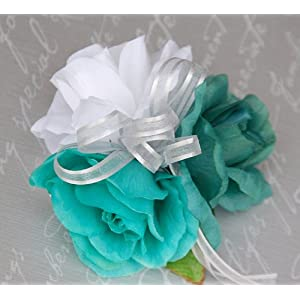 Angel Isabella Wrist Corsage – Teal, White and Jade Roses