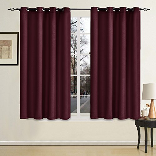 Chunyi 1-Panel Weave Thermal Insulated Blackout Curtain For Bedroom (52x63 Inch, Wine)