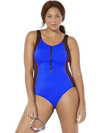 a5e0364ad1be3 Swimsuits For All Women's Plus Size Chlorine Resistant Colorblock Zip One  Piece Swimsu 18 Multi at Amazon Women's Clothing store: