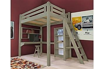 Hochbett Holz Weiß 140x200 : Abc meubles hochbett alpage mit treppe alpagech getönt taupe