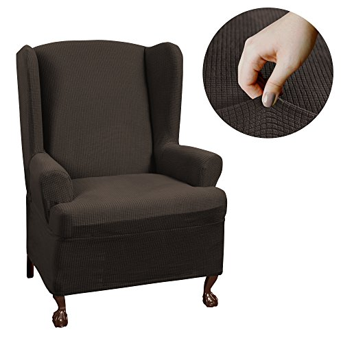 MAYTEX Reeves Stretch 1 - Piece T – Cushion Wingback Chair with Arms Furniture Cover Slipcover, Chocolate Brown -