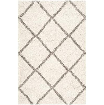 "Safavieh Hudson Shag Collection SGH281B Grey and Ivory Area Runner, 2 feet 3 inches by 8 feet (2'3"" x 8')"