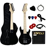 "YMC 30"" Kids Electric Guitar Pack With 5-Watt Amp, Gig Bag,Strap,Cable,Strings,Picks,and Wrench,Guitar Combo Accessory Kit-Black"