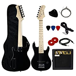 YMC 30″ Kids Electric Guitar Pack With 5-Watt Amp, Gig Bag,Strap,Cable,Strings,Picks,and Wrench,Guitar Combo Accessory Kit-Black
