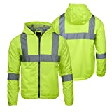 Arctic Quest Mens Lightweight Full Zip Hoodie Jacket Reflective Detail Safety Yellow XL