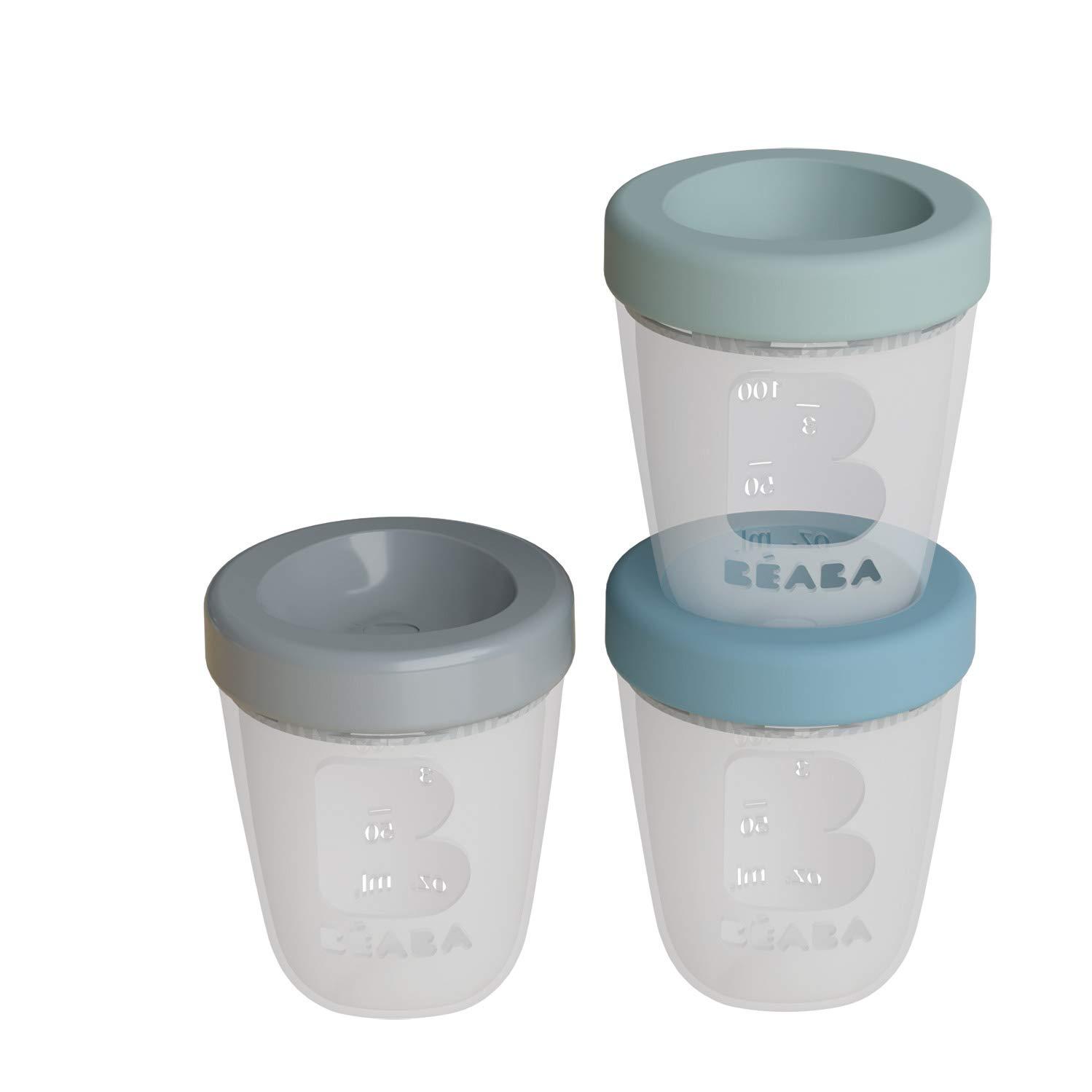 100/% luftdicht B/éaba Set mit 3 Portionen f/ür Babynahrung aus Silikon Skala Aufbewahrung Mikrowellengeeignet stapelbar und stapelbar 200 ml Motiv Dschungel Einfrieren Auftauen
