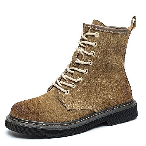 Heel Toe Leather Shoes Combat Fall leather Boots Real Casual Women's Mid Black Boots Khaki Boots for HSXZ ZHZNVX Round Grey Calf Nubuck Flat Winter Gray 4qOZI