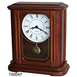 Traditional Mantel Hardwood Clock, Top one German Quartz Movement with Pendulum and Quality Dual-chime Movement-T00047