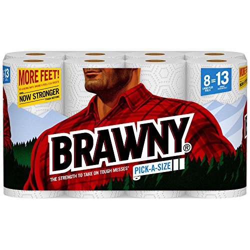 Brawny Paper Towels, 16 XL Rolls, Pick-a-Size,16 = 32 Regular Rolls, White (2 Pack(32 Regular Rolls))