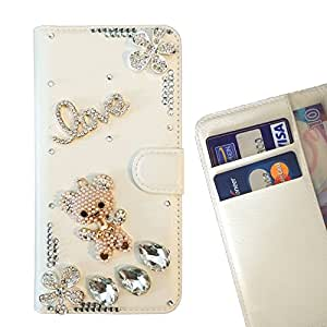 Bear Love Diamond Flowers Crystal Diamond Waller Leather Case Cover 3D Bling For HTC E9 Plus E9+ /- THE- /
