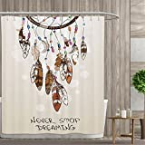 Native American Southwest Decor Shower Curtains Digital Printing Never Stop Dreaming Feathers and Colorful Beads for Good Luck Satin Fabric Bathroom washable 72''x84'' Polyester Beige and Brown