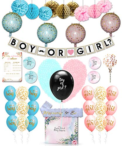 111 Pcs Baby Gender Reveal Party Supplies and Games - Boy or Girl Decorations Kit]()