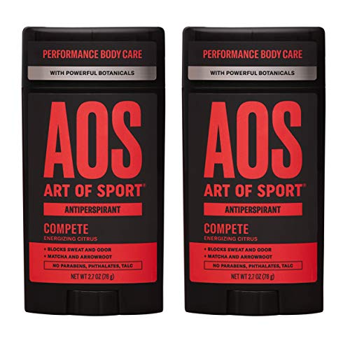 Art of Sport Men's Antiperspirant Deodorant (2-Pack) - Compete Scent - Antiperspirant for Men with Natural Botanicals Matcha and Arrowroot - Energizing Citrus Fragrance - Made for Athletes - 2.7oz