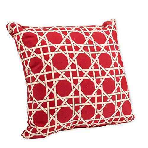 Kane Bright Red and Beige Weave Print 16 x 16 Indoor Outdoor Throw Pillow [並行輸入品] B07RBDKLMY