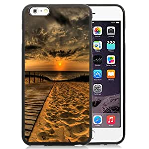 Beautiful Unique Designed iPhone 6 Plus 5.5 Inch Phone Case With Wooden Path Sea Sunset Sand_Black Phone Case