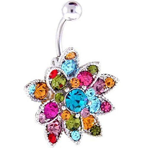 (New Crystals Set Flower Hinged Barbell Dangle Belly)
