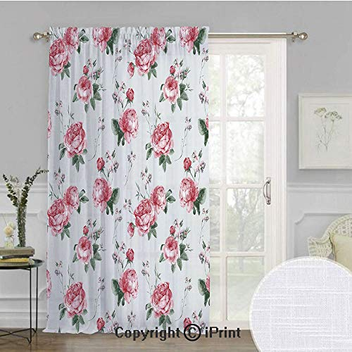 - Rose Extra Wide Chiffon Sheer Curtain,Blooming English Rose Watercolor Painting Style Garden Shabby Chic Wild Flowers,for Large Window/Sliding Glass Door/Patio Door,100x120inch,Reseda Green Pink
