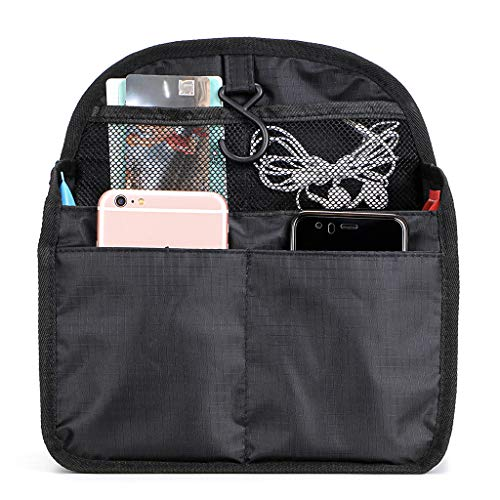 BTSKY Universal Backpack Insert Organizer Handbag Organizer Hanging Travel Bag Gadget Organization Multi-Pocket 3 Size (Black-Medium)