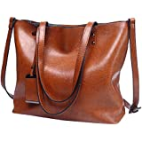 Womens Leather Tote Handbags Top Handle Satchel Vintage Hobo Shoulder Bag Purses Coffee