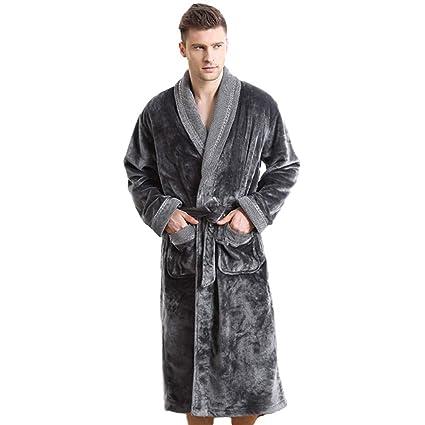 MERRYHE Los Hombres De La Franela De Lujo Waffle Terry Towel Chal Collar Albornoces Kimono Bath