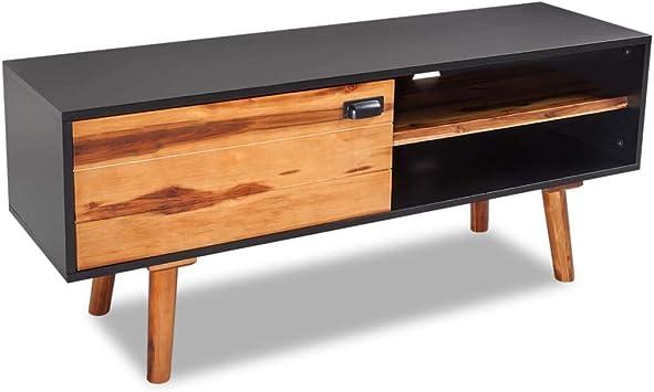 tuduo Mueble para TV Madera Maciza de Acacia 120 x 35 x 50 cm diseño Elegante y único Mueble para TV Puerto TV Moderno: Amazon.es: Electrónica