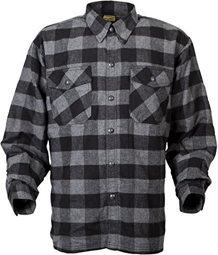 ScorpionExo Men's Covert Flannel Jacket(Black/Gray, Large), 1 Pack Road Flannel