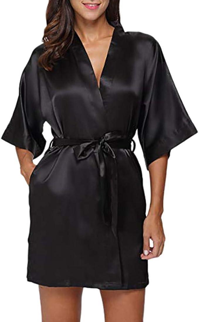 Aibrou Donna Pigiama Kimono,Donna Elegante Vestaglia Raso Lungo Camice da Notte con Cintura