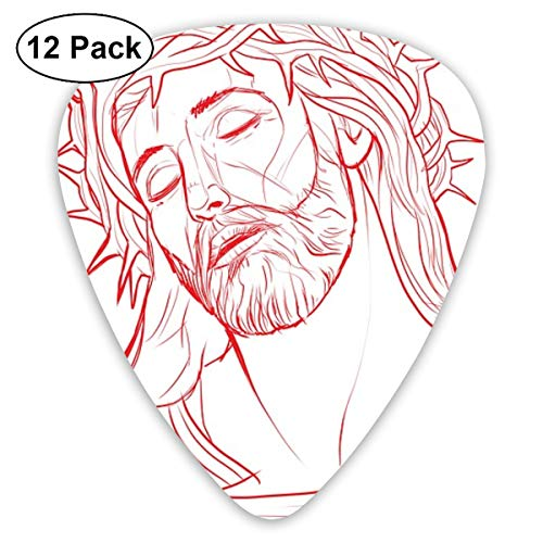 Jesus Crown Thorns Christ God Ultra Light 0.46 Medium 0.73 Heavy 0.96mm Printed Round Flat Soft Plastic Jazz Electric Acoustic Bass Guitar Pick Accessories Variety Pack
