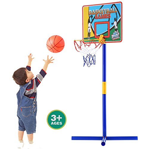 Portable Indoor Outdoor Height Adjustable Basketball Hoop System Stand Toddler Kids Sports Toy Set