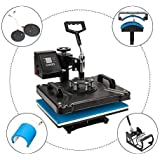 "ROVSUN 5 in 1 Transfer Sublimation Multifunction Machine, Heat Press 360° Swing Away, Rhinestone/T-Shirt/Hat/Mug/Plate/Cap/Mouse Pads DIY Heat Press, 12"" x 15"" 1250W Black"