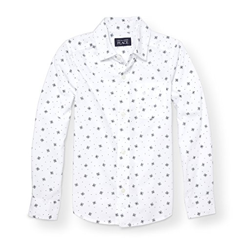 Printed Long Sleeve Woven Shirt (The Children's Place Big Boys' Long Sleeve Printed Woven Top, White 88254, S (5/6))