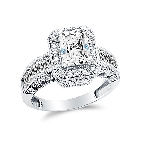 Size - 5 - 14k White Gold Highest Quality CZ Cubic Zirconia Emerald Cut Engagement Ring (2.0ct. Center Stone) 14k White Gold Six Prong