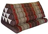 Thai triangle cushion XXL, with 1 folding seat, brown/burgundy, sofa, relaxation, beach, pool, meditation, yoga, made in Thailand. (82516)