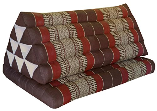 Thai triangle cushion XXL, with 1 folding seat, brown/burgundy, sofa, relaxation, beach, pool, meditation, yoga, made in Thailand. (82516) by Wilai GmbH