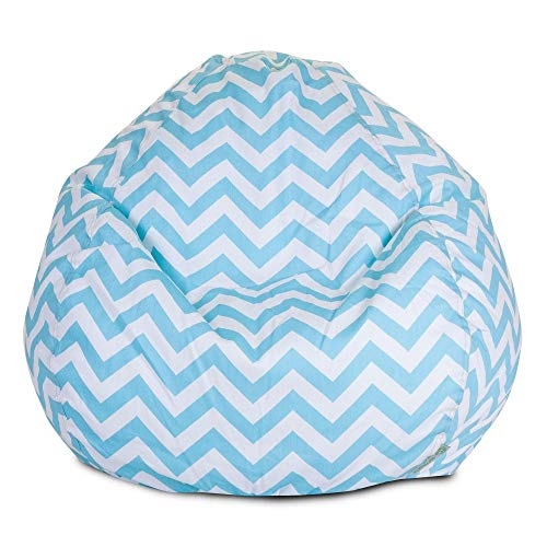 Majestic Home Goods Classic Bean Bag Chair - Chevron Giant Classic Bean Bags for Small Adults and Kids (28 x 28 x 22 Inches) (Tiffany Blue) ()