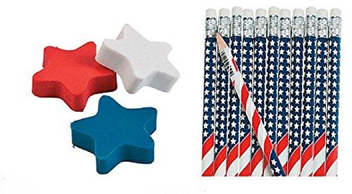 American Flag Pencils & Patriotic Star Erasers (48 Pieces)