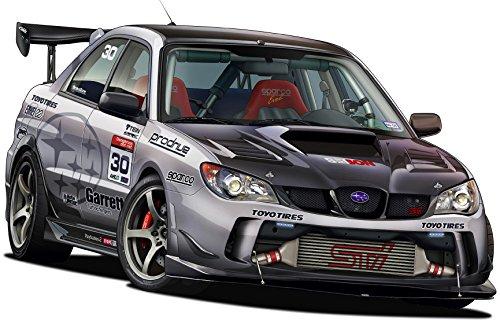 "12"" Time Attack Subaru WRX STI WALL DECAL Cartoon Car 3D Sticker Mural Kids Room Sports Den Man Cave Boys"