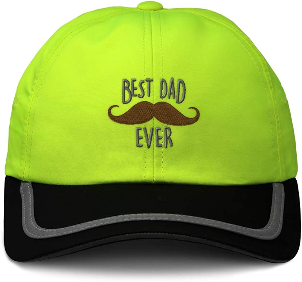 Custom Reflective Running Hat Best Dad Ever Mustache Embroidery One Size