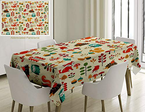 Unique Custom Cotton And Linen Blend Tablecloth Children Cute Kids Autumn Pattern With Owl Fox Squirrel Birds Animal Leaves Artsy Print MulticolorTablecovers For Rectangle Tables, 60 x 40 Inches - Squirrel Proof Bird Table