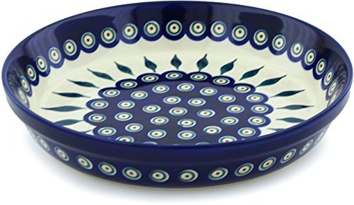 (Polish Pottery Pie Dish 10-inch Peacock Leaves )