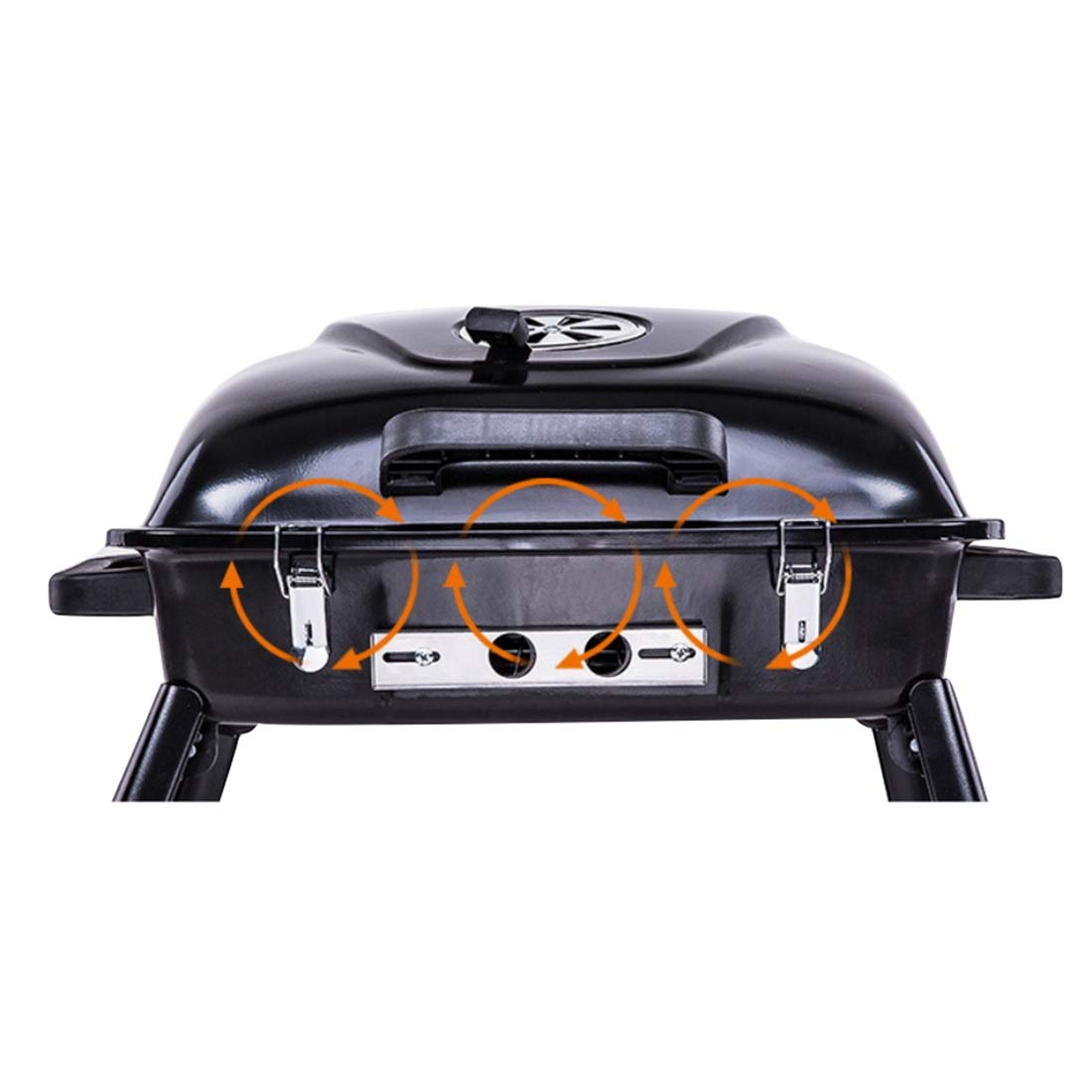 Xasclnis Tragbarer Einstellbarer Wind Camping Grill Original Holzkohlegrillkocher aus Emaille-Verfahren für den Außen- und Heimbereich (Farbe   schwarz)