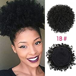 SCENTW Synthetic Curly Hair Ponytail African American Short Afro Kinky Curly Wrap Synthetic Drawstring Puff Ponytail Hair Extensions Wig with Two Clips (Black)