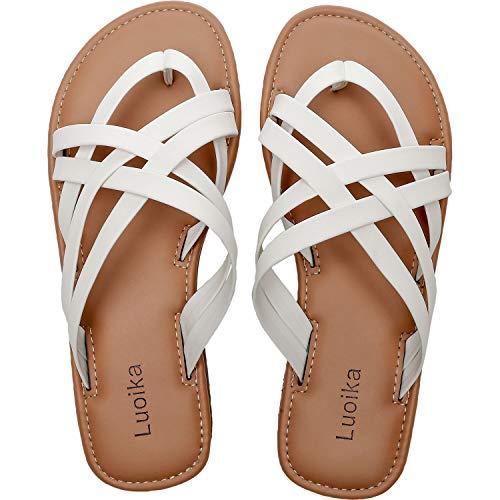 Women's Wide Width Slide Sandals - Slip On Flat Cross Strap Casual Summer Shoes.(190102,White,10)