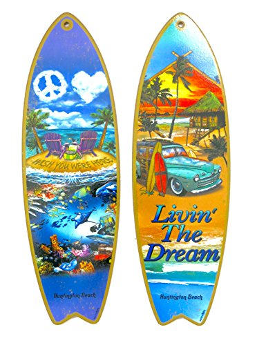 Surfboard Red Surf Decor - Huntington Beach, surf Board, Livin's The Dream, and Wish You were here, Souvenir Wood Wall Decor, Size 5
