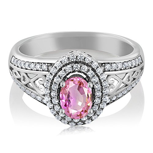 1.41 Ct Oval Pink Sapphire 925 Sterling Silver Ring by Gem Stone King (Image #1)