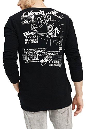 356e994125aae5 Stampa Slim amp; Abbigliamento Classic Lunga Casuale Vestiti Motivo manica Felpa  Urban Nero Uomo Moda Black ...