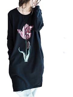 1d6981be9af43 Mallimode Femme Robe Manches Longue Col Rond Imprimé Pullover Longue  T-Shirt Ample Casuel
