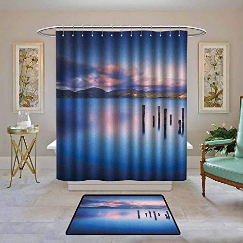Custom Shower Curtain Nature,Wooden Pier Tops Remain in Lake with Sunset Mirror -